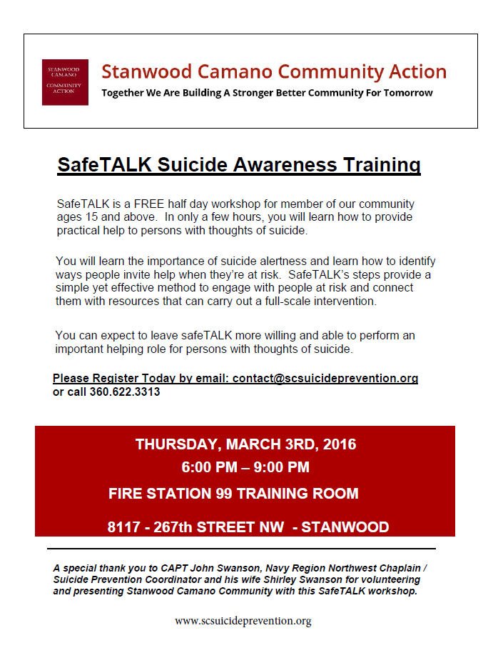 SAFETALK TRAINING - LEARN HOW TO BECOME ALERT TO PEOPLE WHO MAY BE AT RISK
